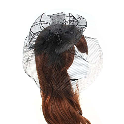 [Fascinator Hair Clip Head Hoop Feather Rose Flower Derby Cocktail Party Wedding Women Black 3] (1920s Flapper Hairstyles)