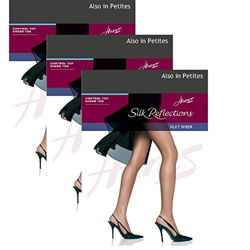Hanes Womens Set of 3 Silk Reflections Control Top Sheer Toe Pantyhose GH, Barely (Nylon Tummy Control Pantyhose)