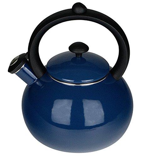 Kettle Stovetop - Porcelain Enameled Kettles 2-Quart Tea Pot Navy Cobalt ()