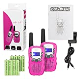 Feeto RT-388 FRS/GMRS 22 Channel Kid Walkie Talkies with Charger and Rechargeable Batteries (Pink, Pack of 2)