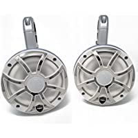 Wet Sounds REVO6-XSW-SS White & Stainless Steel 6.5 LED Speakers in Kicker KMTES White Enclosures with RGB LED Rings