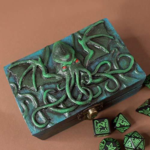 Cthulhu Lovecraft caja de dados de resina y madera para D&D y juegos de rol: Amazon.es: Handmade