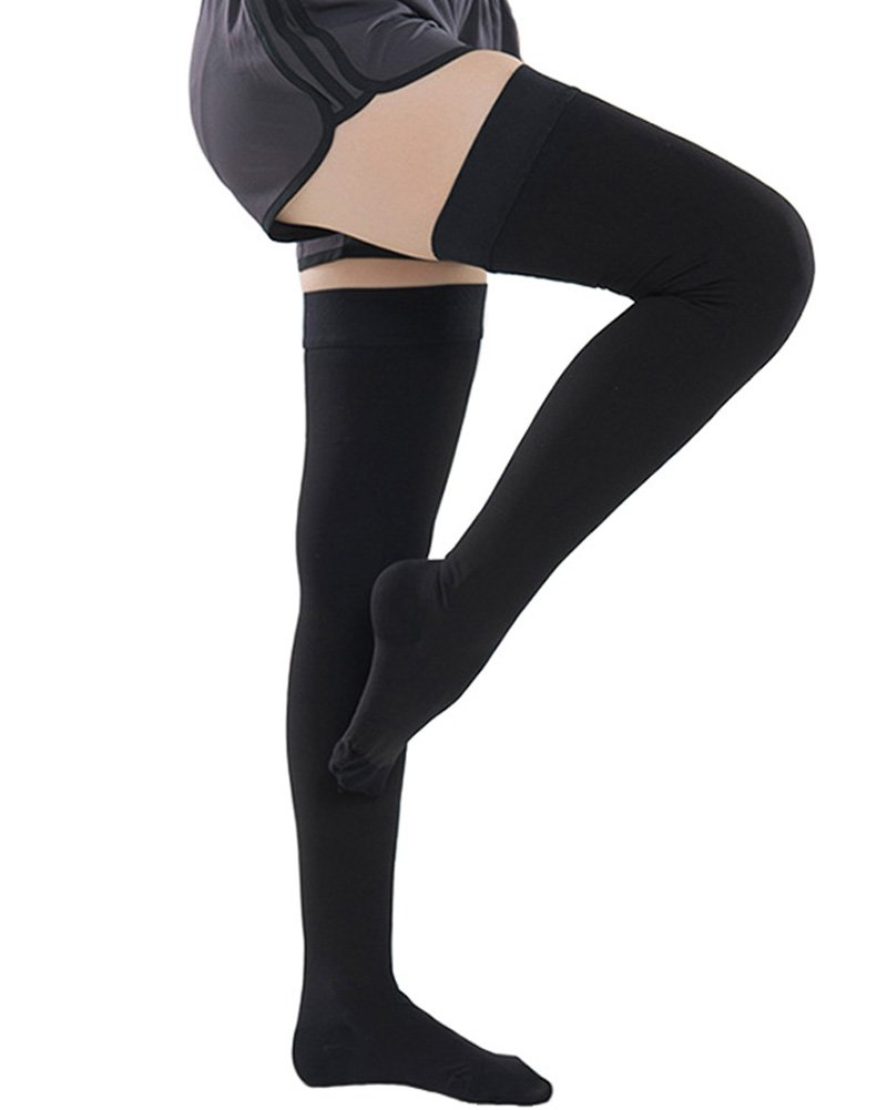 Ailaka Closed Toe Thigh High 20-30 mmHg Compression Stockings for Women and Men, Firm Support Graduated Varicose Veins Socks, Travel, Casual-Formal Hosiery (Black, X-Large)