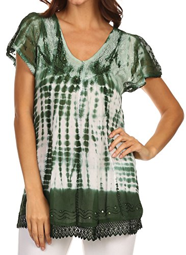Sakkas 776 - Violet Embroidery Tie Dye Sequin Accents Blouse / Top - Dark Green - OSP