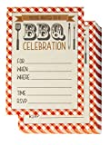 BBQ Party Invitation Cards – 50-Pack Fill-In Barbecue Cookout Invites with Envelopes, Ideal for Summer Pool Parties, Picnic, Family Reunion, BBQ Party Supplies, 5 x 7 Inches