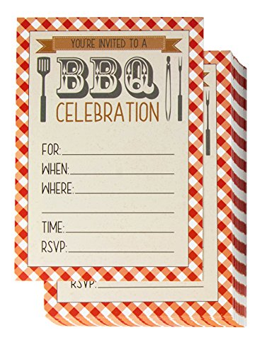 BBQ Party Invitation Cards - 50-Pack Fill-in Barbecue Cookout Invites with Envelopes, Ideal for Summer Pool Parties, Picnic, Family Reunion, BBQ Party Supplies, 5 x 7 inches -