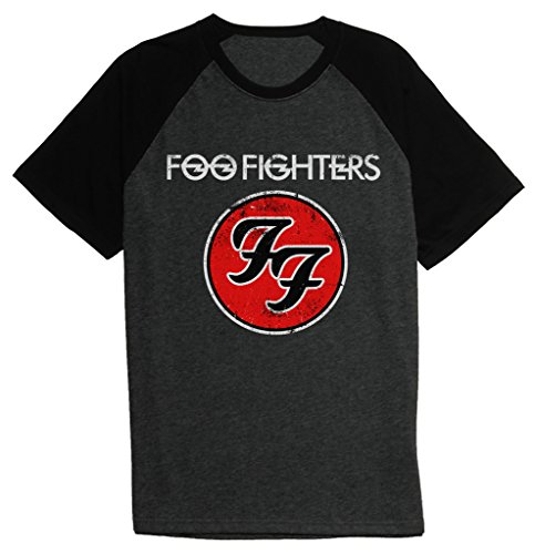 Short Sleeve Logo Raglan T-shirt - Foo Fighters FF Logo Baseball Tee Raglan Short Sleeve Men's T Shirt XX-Large Heather Charcoal Black/Black