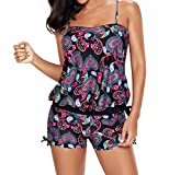 Tomlyws Womens Printed Summer Sporty Tankini Top and Bottom Set Swimsuit Bathing Suit XXL