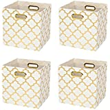Posprica Collapsible Storage Cubes Bin Boxes Containers Drawers Organizer Baskets with Metal Handles for Toy,Clothes,Laundry (4, White-gold lantern print)
