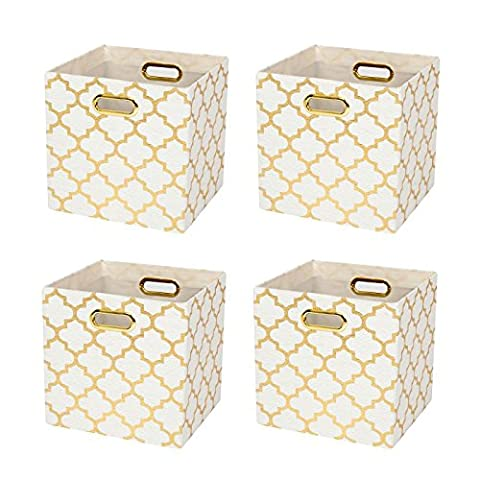 Posprica Collapsible Storage Cubes Bin Boxes Containers Drawers Organizer Baskets with Metal Handles for Toy,Clothes,Laundry (4, White lantern (White And Gold Shelves)