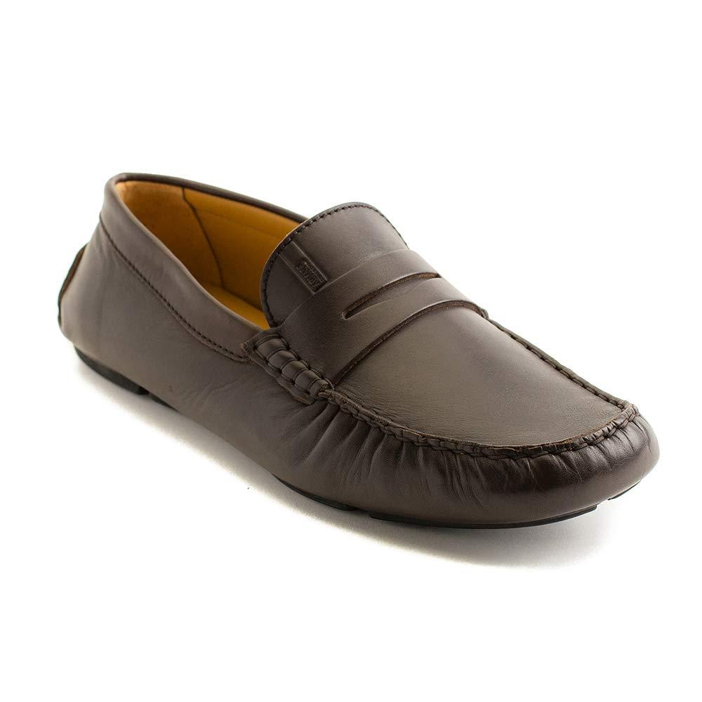 bb77004043f GIORGIO ARMANI Collezioni Men s Leather Loafer Driving Shoes Brown