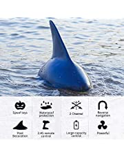 Mainstayae V302 RC Boat with Simulation Shark Fin Head 15km/h Electric Racing Boat for Pools 2.4G Remote Control Spoof Toy