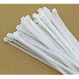 """Wonder Quick Tie 8"""" Inch Cable Ties 200 MM *3 MM White Nylon Zip Wire Organizer/ Self Locking Tie (100Pcs)"""