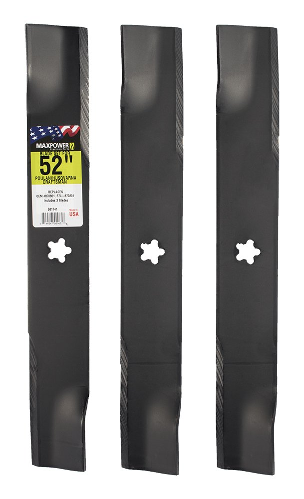 MaxPower 561741 3-Blade Set for 52 Inch Cut Poulan/Husqvarna/Craftsman Replaces 574-870801