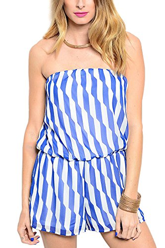 Limit 33 Juniors Teens Romper Shorts Strapless Jumpsuit Casual Cute Cover Up Stripes Royal Blue White Size Large (Teenager Rompers)