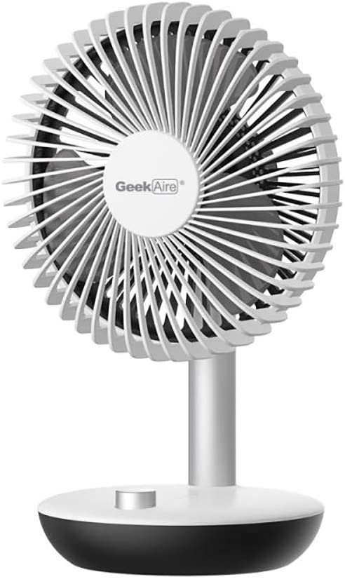 Geek Aire Small Portable Table Fan, Mini Personal Battery Operated Fan, USB Rechargeable Desk Fan with 5000mAh Battery, 1-2-4-8 Hours Timer for Office, Home, Students Dormitory, 6 inch, White