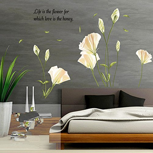 Ayutthaya shop Lily Flowers Wall Sticker On The Wall VinYl Wall Stickers Gome Decor Bedroom Backdrop Wall - London Shop Tiffany