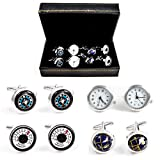 MRCUFF Traveler Working Watch Thermometer & Compass Steampunk Spinning Globe Pilot 4 Pairs Cufflinks in a Presentation Gift Box & Polishing Cloth