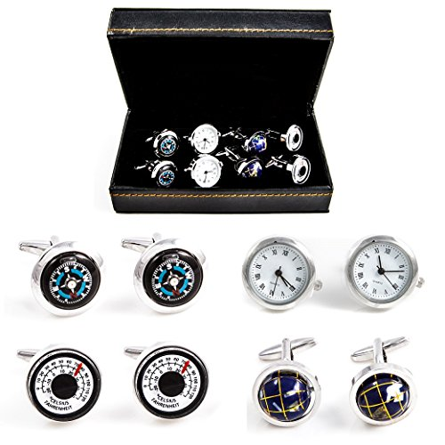 MRCUFF Traveler Working Watch Thermometer & Compass Steampunk Spinning Globe 4 Pairs Cufflinks in a Presentation Gift Box & Polishing Cloth (Cuff Watch Ornate Fashion)