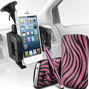 Alcatel One Touch Star 6010d Protección Premium de Zebra PU tracción Piel Tab Slip Cord En cubierta de bolsa Pocket Skin rápida Con Matching Large Stylus pen & Soporte universal de la succión del parabrisas del coche Vent Cuna Rosa y Negro por Spyrox