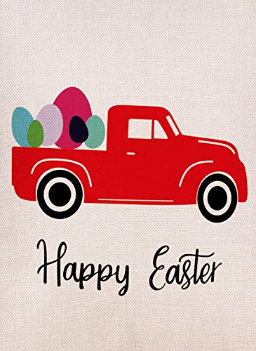 Selmad Home Decorative Happy Easter Eggs Small Garden Flag Red Truck Double Sided, Welcome Quote Burlap Vintage Farm House Yard Decoration, Seasonal Farmhouse Outdoor D