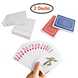Neasyth Waterproof Plastic Playing Cards,Regular Index Playing Cards Set,2 Decks of Cards for Magic Props,Pool Beach Water Card Games Blackjack, Pinochle, Euchre Cards Games, Blue and Red