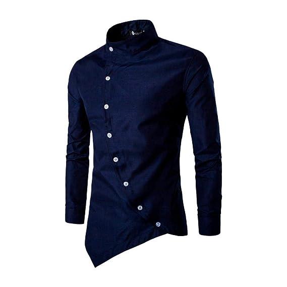 Btruely Herren Blusa Hombre Tops Camisa Casual de Manga Larga para Hombre de Silm Irregular Irregular Tops de Blusa Camiseta básica Camisa Elástica ...