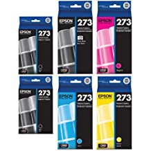 Genuine Epson 273 Color (Black/Photo Black/Cyan/Magenta/Yellow) Ink Cartridge 6-Pack (Includes 2 T273020 and 1 each of T273120, T273220,T273320,T273420) for Epson Expression XP-600/800 and Epson Expression Premium XP-610/810 printers