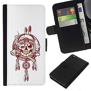 A-type (Indian Smoke Jefe Paz Blanco Rojo) Colorida Impresión Funda Cuero Monedero Caja Bolsa Cubierta Caja Piel Card Slots Para HTC DESIRE 816