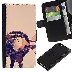 KingStore / Leather Etui en cuir / Apple Iphone 6 / Escudo de Viking Axe Casco barba larga Hombre