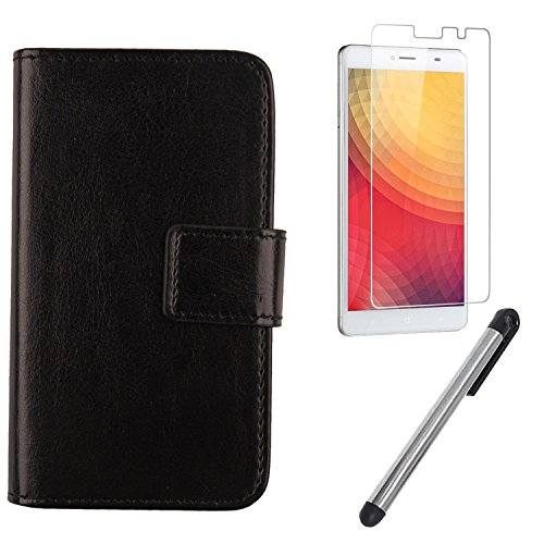 Gukas Design 3in1 Set Black Color PU Leather Case For Doogee Y6 Max 6.5