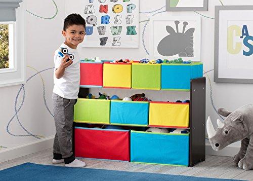 51KCu0pFr%2BL - Delta Children Deluxe Multi-Bin Toy Organizer with Storage Bins, Dark Chocolate/Primary Colored