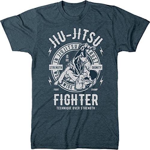 Trunk Candy Jiu Jitsu Fighter Men's Modern Fit T-Shirt (Indigo, XX-Large) ()