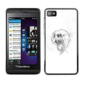 All Phone Most Case / Oferta Especial Duro Teléfono Inteligente PC Cáscara Funda Cubierta de proteccion Caso / Hard Case Blackberry Z10 // Grizzly Black Brown Bear Skull Drawing