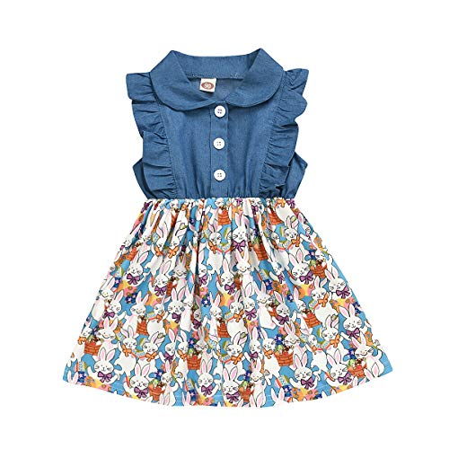 Ambabe Toddler Baby Summer Clothes Denim Fly Sleeve Turn-Down Collar Button Stitching Easter Bunny Print Tutu Dress Sundress Outfit (Blue, 18-24 Months)