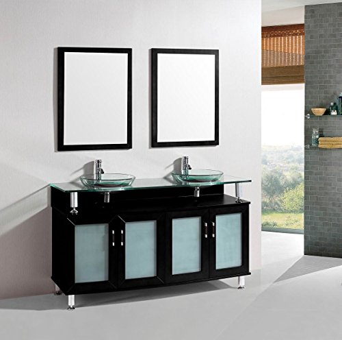 Belvedere Bath T9148F T9148F Freestanding Modern Double Bathroom Vanity With Tempered Glass Top And Basins, 60