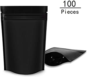 100 Pack Smell Proof Stand-Up Bags 3.5x5 inch, Resealable Mylar Bags ZipLock Food Storage Pouch Bags