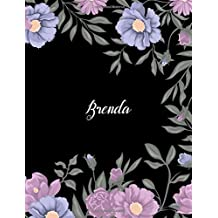 Brenda: 110 Ruled Pages 55 Sheets 8.5x11 Inches Climber Flower on Background Design for Note / Journal / Composition with Lettering Name,Brenda