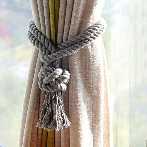 Melaluxe 2 Pack Curtain Tiebacks - Natural Cotton Curtain Rope Tieback, Handmade Rural Decorative Curtain Holdbacks (Grey Tassel) (Tassel Tie Decorative Back)