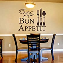 "BATTOO Bon Appetit Wall Decal Kitchen Dining Room Decal Funny Cute Wall Decal Bon Appetit Wall Decal Vinyl Wall Decal Kitchen Decal(Black, 27.5""h x34""w)"
