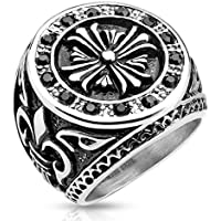 A.Yupha Mens Stainless Steel Cast Ring Band with Celtic Cross Black CZ Fleur De Lis (10)