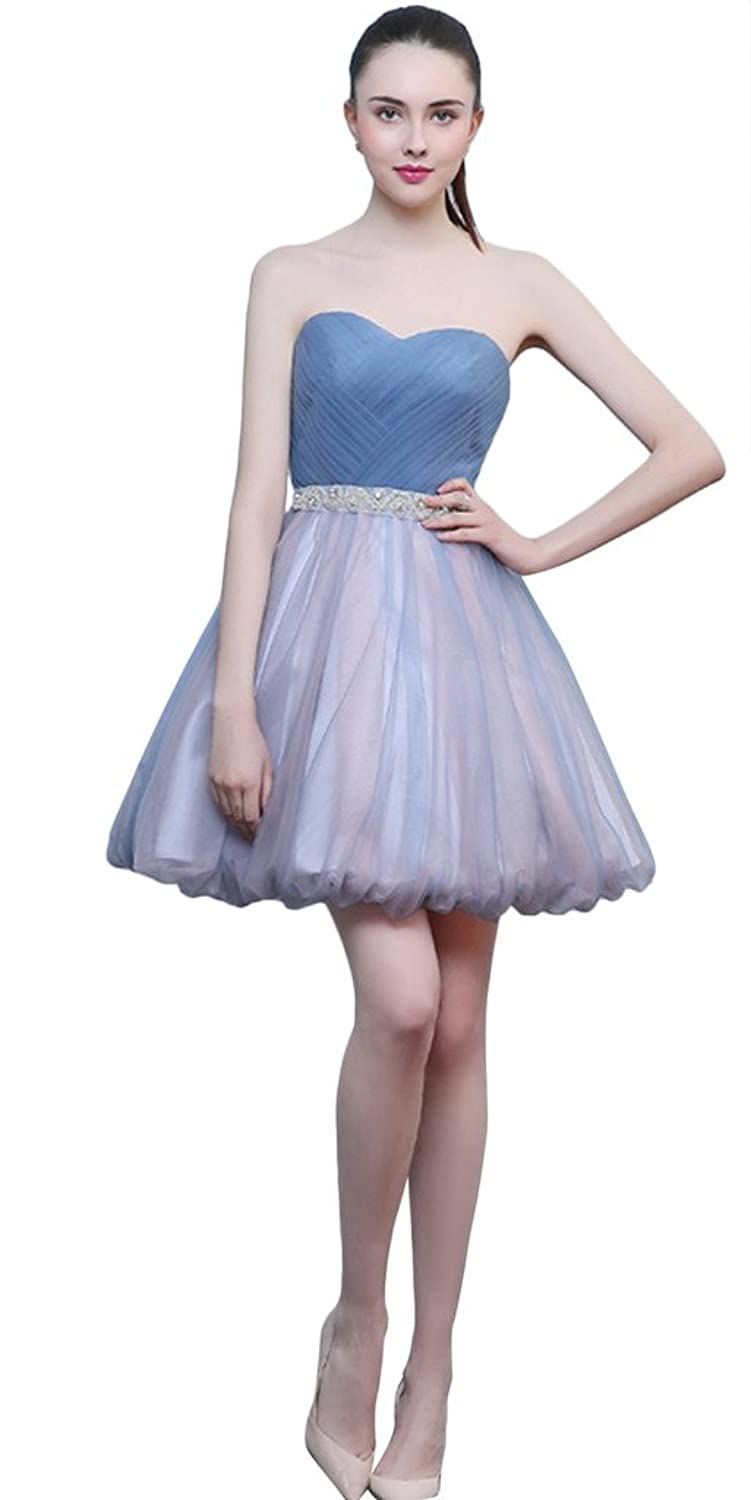 Vimans? Girl's Short Blue Pleated Sweetheart Gowns with Beads for Cocktail