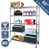 Seville Classics SHE18603B UltraDurable Commercial-Grade 5-Tier NSF-Certified Steel Wire Shelving with Wheels, 60' W x 18' D x 72' H, Chrome