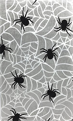 Halloween Silver Metallic Holiday Flannel Back Vinyl Tablecloth: Creepy Spiders Ensnaring a Wicked Web (52
