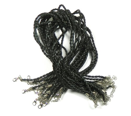 Rockin Beads 20 Imitation 3mm Leather Cord Necklaces Black Braided 17' Lobster Claw Clasp 17' Leather Cord
