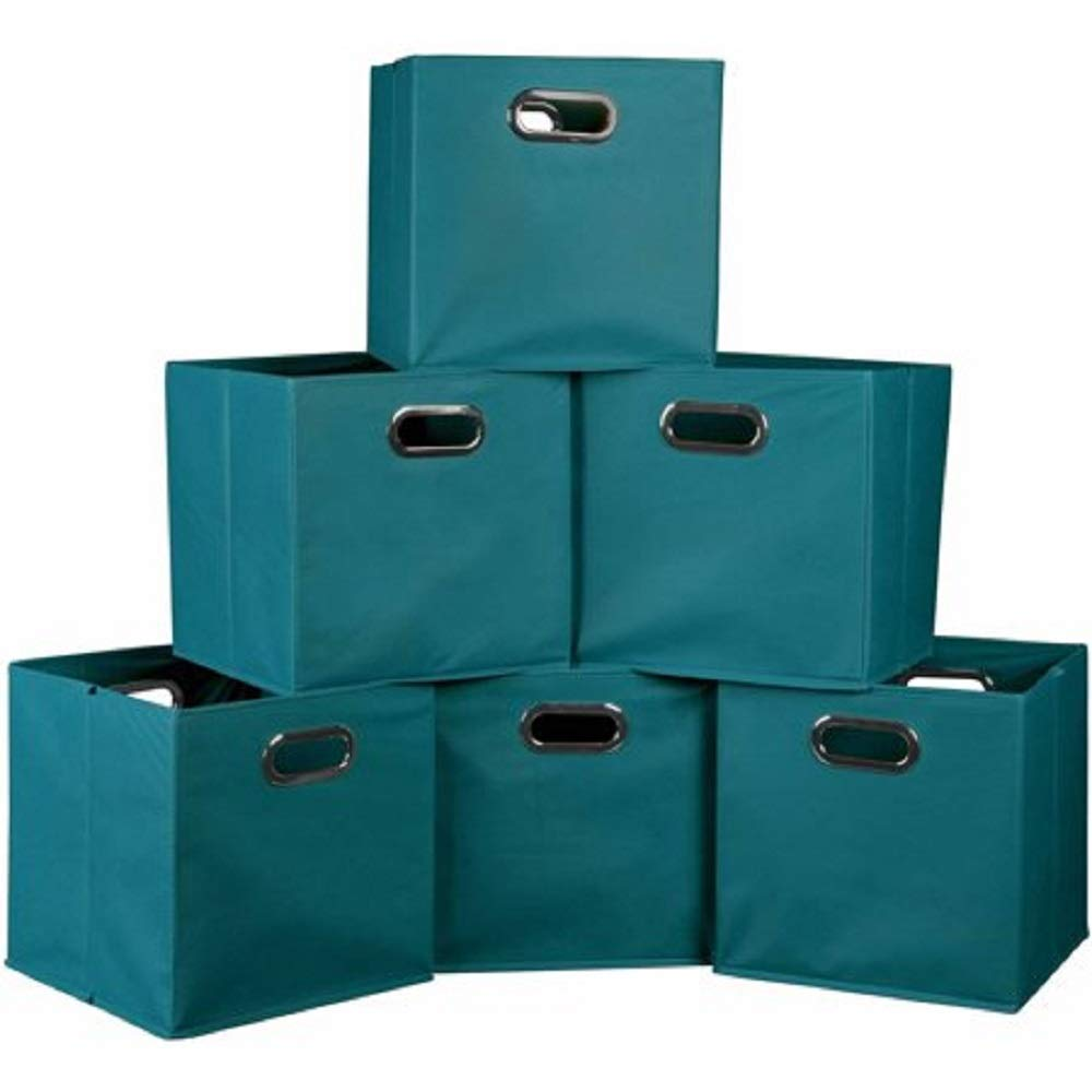 Better Homes and Gardens.. Bookshelf Square Storage Cabinet 4-Cube Organizer Weathered White, 4-Cube Teal, Set of 6 Storage Bins