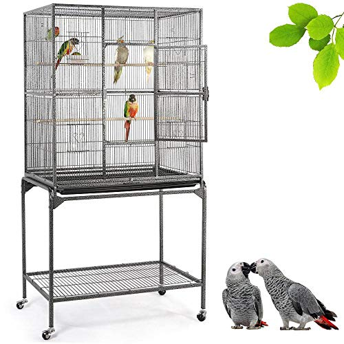 Yaheetech 63''H Large Rolling Metal Parrot Cage w/Detachable Stand Bird Cage for Conures Parakeets Cockatiels Small Animal,Black