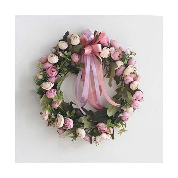Liveinu Artificial Peony Wreaths for Front Door Flowers Arrangements Wedding Table Centerpieces Wreath Garland for Wall Home Door Garden Office Wedding Decor 12″ Purple Door Wreath
