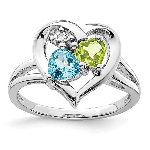 - 925 Sterling Silver Blue Topaz Green Peridot Diamond Band Ring Size 9.00 S/love Gemstone Fine Jewelry Gifts For Women For Her