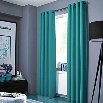 GorgeousHomeLinen NOA 1 Solid Panel 100 Room Darkening Insulated Thermal Lined Blackout Window Grommets Curtain 63 Length TEAL